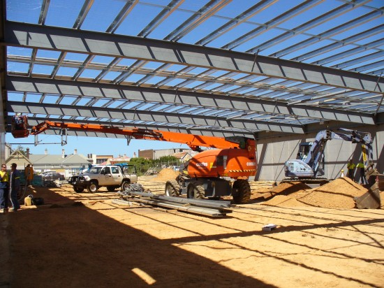 Structural Steel fabrication - Cambered Roof beams 23m long